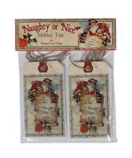 Vintage Style Santa Naughty Or Nice Christmas Gift Tags Bethany Lowe Set of 12