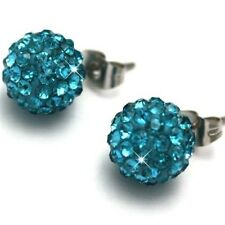 Shamballa Stud Earrings 8mm Crystal Clay Disco Ball 30 Colors To Choice