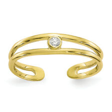 Zirconia Gemstone Toe Summer Ring Ladies 10K Yellow Gold Clear Cubic