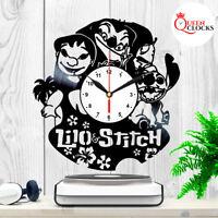 Disney Lilo and Stitch Vinyl Record Wall Clock Birthday Gifts Kids Room Decor