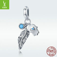Bohemian S925 Sterling Silver Charm Feather Fatima Pendant For Bracelet Necklace