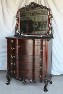 Antique Mahogany Highboy Chest of Drawers – highly carved – claw feet