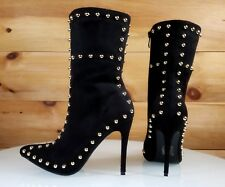 Top Show Black Vegan Suede Pointy Toe High Heel Gold Studded Ankle Boots 6-11