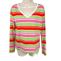 Talbots V-neck Knit Top Sweater Women Size M Pink Green Long Slv Stretch Cotton