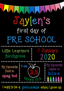 First Day Of School Sign-1st Day-School Supplies-Preschool-Kindy-chalkboard