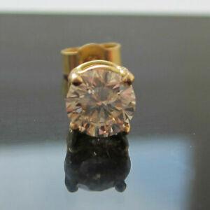 New Men's 1/5ct Diamond Single 14k Yellow Gold Over Stud Earring Free post