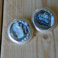 Vintage Taxco Mexico Sterling Silver Abalone Clip-on Earrings Signed