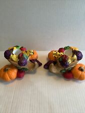 Partylite Harvest Time Thanksgiving Cornucopia Taper Candle Holders, Set of 2