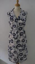 Vestido Recto 60s Vintage 12 14 Blanco Azul Marino Floral Goodwood verano Mad Men Mod