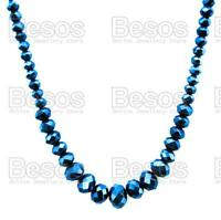 SPARKLY CZECH GLASS NECKLACE faceted beads COBALT FIRE POLISHED bead GIFT BAG UK