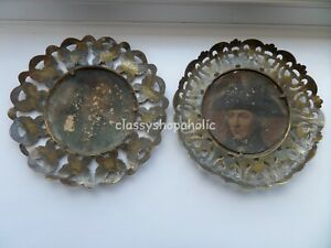 2 x Vintage Brass Wall Plaques with Portrait Pictures in the Centre