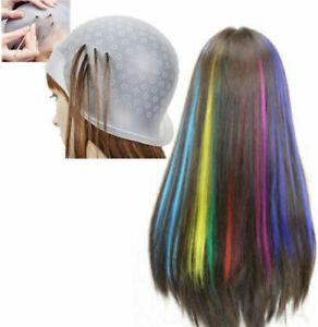 Professional Reusable Hair Coloring Highlighting Rubber Cap Streaking + Hook DIY