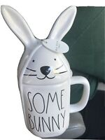 "Rae Dunn ""SOME BUNNY LOVES YOU"" Coffee Mug with Rabbit Ears Topper Easter"