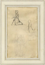 More details for thomas stothard ra, figure studies, kneeling & with shield – early c19th drawing