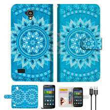 BLUE AZTEC TRIBAL Phone Wallet Case Cover For HUAWEI Y5 Y560-- A001