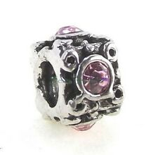 Pink Crystal Square Screw Threaded Stopper Lock Bead for European Charm Bracelet