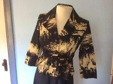 GRACE Jacket 2P stretch Cotton Black Brown print Peplum Belt Exllnt Condn