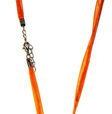 "NC131e Orange Ribbon & Cord Combo 17"" Necklace w Silver Clasp for Pendants 1/pkg"