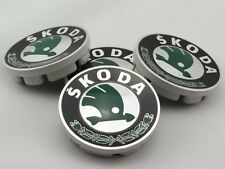 Set of 4 Skoda Alloy Wheel Centre Caps Hub Green 56mm Superb Yeti Octavia Fabia