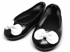 Black White Bow Flat Ballet Doll Shoes for 1/4 MSD BJD Minifee Resinsoul