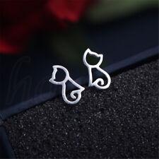 1 Pair Cute Women 925 Silver Simple Style Leaves Cat Ear Stud Earrings Jewelry Cats #1