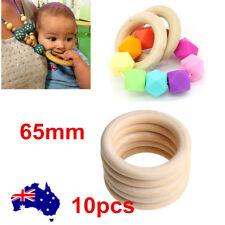10pcs 65mm Nature Wooden Baby Teether Teething Ring DIY Wood Rings Nursing Rings