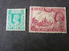 *BURMA, SCOTT # 23+25(2), TOTAL 2 1938-40 KGVI DEFINITIVE ISSUE USED