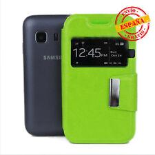 Funda tapa tipo libro con soporte y ventana Samsung G130 Galaxy Young 2 verde