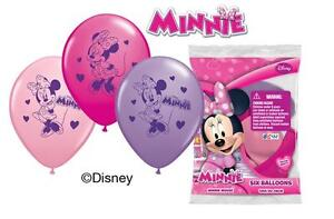 """6 pc 12"""" Disney Minnie Mouse Party Latex Balloons Happy Birthday Bow-tique"""