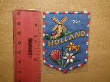 Vintage Embroidered Patch-HOLLAND-Excellent Condition-WINDMILL & FLOWERS