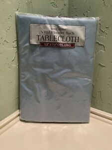 NEW NIP Home Trends Vinyl Flannel Back Tablecloth 52 X 70 OBLONG Blue
