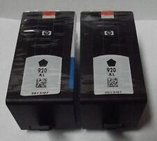 NEW Genuine 2ea HP 920XL Black High Capacity Printer XL Ink Cartridges 07/2013
