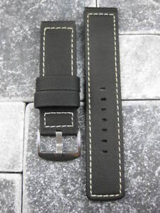 24mm PVC Rubber Band Black Diver Watch Strap Kevlar Fabric for Maratac White X1