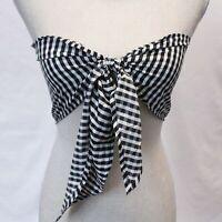 Nasty Gal Women's Tie Front Gingham Crop Top LP7 Black Size UK:8 US:4 NWT