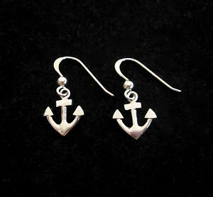 925 Sterling Silver small ANCHOR dangle earrings