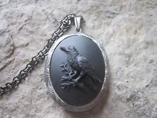 RAVEN, BLACK BIRD, CROW CAMEO ANTIQUED SILVER PLATED LOCKET - UNIQUE - MOURNING