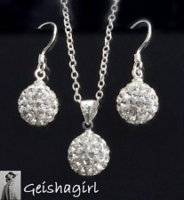 Wedding Crystal Shamballa Prom Earring & 925 Silver Necklace Chain Jewellery Set