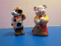 """IAC 1998 Vintage Set Of 2 Farm Animal Figurines Pig Cow Ceramic 4"""" Hand Painted"""