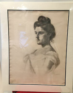 EARLY 20TH CENTURY CHARCOAL PORTRAIT DRAWING BY M. UHLIG UNSIGNED