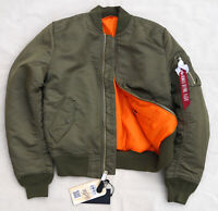 ALPHA INDUSTRIES MA-1 Slim Flight Jacket Bomber Reversible Vintage Olive Men's S