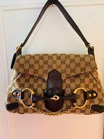 GUCCI GG Logo Canvas Brown Leather Horsebit Chain Flap Shoulder Bag