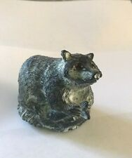 """AL WOLF SOAPSTONE CARVING RACCOON WITH GLASS EYES & FISH  MADE IN CANADA  2 1/2"""""""