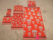 Betsey Johnson 6 PIECE  Skelator Stone Skull Bath Towel Set NWT 100% Cotton