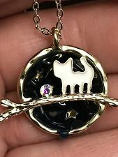 "Cats White on Midnight Run Charm Tibetan Silver 18"" Necklace BIN"