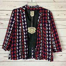 Tulle Anthropologie NEW TAGS Black Bird Print Jacket Blazer Women's Sz M Medium