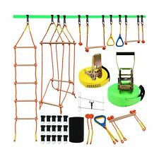 Ninja Warrior Obstacle Course for Kids, Slackline Kit 50' with 8 Accessories .