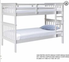 Single Solid Pine  bunk NEW DESIGN in white or choc Kids New
