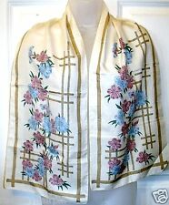 VINTAGE CREAM FLORAL ~ OBLONG ~ NECK ~ SCARF ~ SCARVES # 275