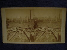 1877 Railroad Union War PITTSBURGH,PA Wrecked STEAM ENGINE/Roundhouse Stereoview