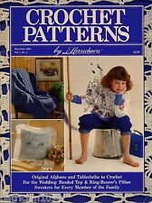Crochet Patterns Herrschners Wedding Beaded Top Ring Pillow Sweaters Afghan 1988